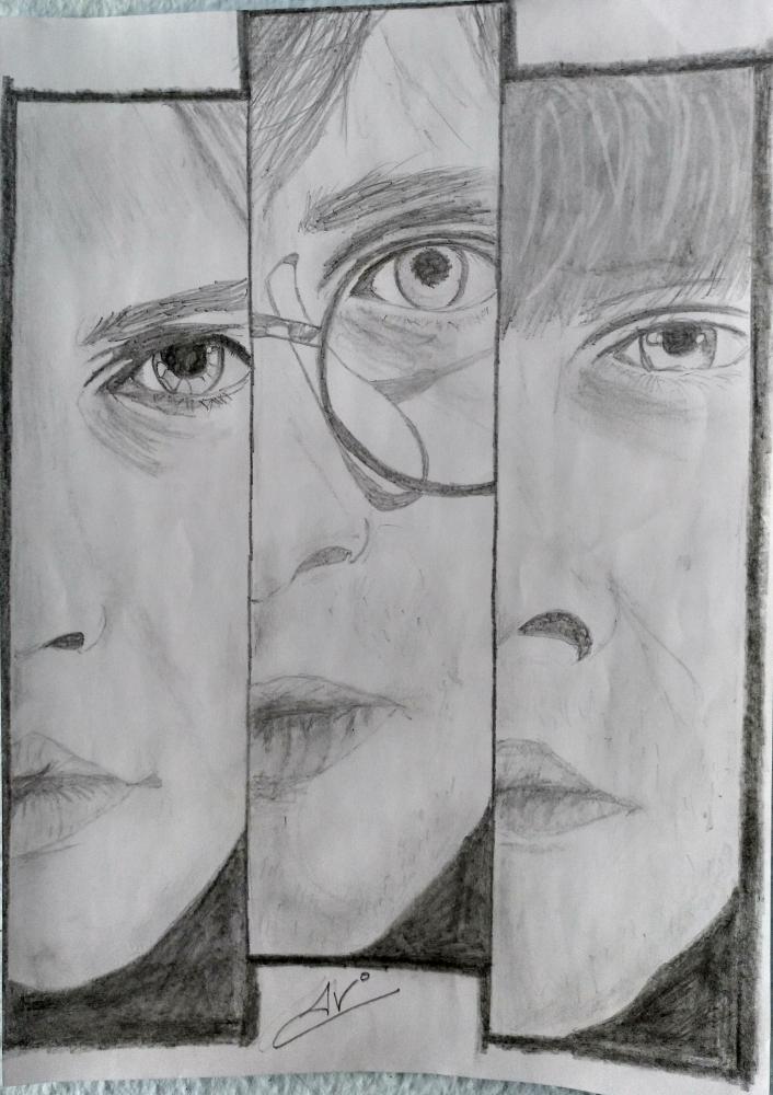 Rupert Grint, Daniel Radcliffe, Emma Watson by Nereaaj